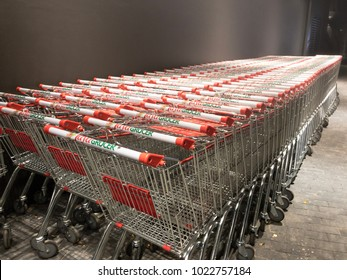 Shah Alam, Malaysia - February 11, 2018: Jaya Grocer trolleys. Jaya Grocer is Malaysia's Neighboorhood Fresh Grocer carrying everyday fresh products for daily household convenience and needs.