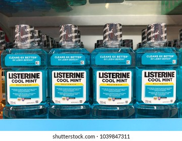 SHAH ALAM, MALAYSIA - FEBRUARY 12, 2018: Assorted Listerine product displayed on shelves at supermarket. Listerine is an American brand of antiseptic mouthwash product.