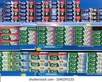 SHAH ALAM, MALAYSIA - FEBRUARY 12, 2018: Darlie brand toothpaste display on store shelves. Darlie, formerly known as Darkie is a famous toothpaste brand with the official Slogan 'Powering Your Smile.'