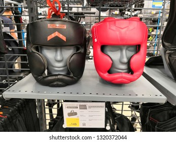 Shah Alam, Malaysia - February 2019 : Boxing headguard for sale at a sporting goods Decathlon store in Shah Alam. Decathlon is one of the world's largest sporting goods retailers. - Image