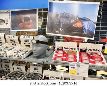 Shah Alam, Malaysia - February 2019 : Camping and hiking headlamp for sale at a sporting goods Decathlon store in Shah Alam. Decathlon is one of the world's largest sporting goods retailers. - Image