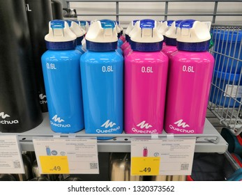 Shah Alam, Malaysia - February 2019 : Quechua flask water bottle for sale at a sporting goods Decathlon store in Shah Alam. Decathlon is one of the world's largest sporting goods retailers. - Image