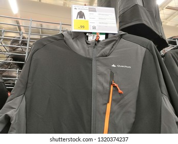 Shah Alam, Malaysia - February 2019 : Quechua jackets for sale at a sporting goods Decathlon store in Shah Alam. Decathlon is one of the world's largest sporting goods retailers. - Image