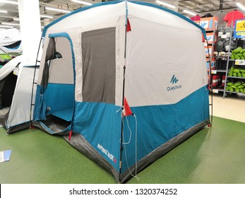 Shah Alam, Malaysia - February 2019 : Quechua camping tent for sale at a sporting goods Decathlon store in Shah Alam. Decathlon is one of the world's largest sporting goods retailers. - Image