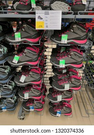 Shah Alam, Malaysia - February 2019 : Quechua hiking shoes for sale at a sporting goods Decathlon store in Shah Alam. Decathlon is one of the world's largest sporting goods retailers. - Image