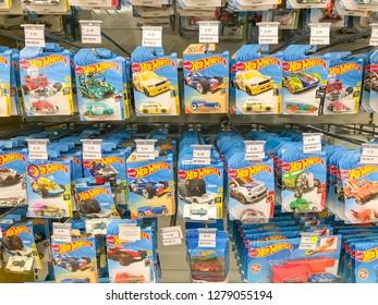 Shah Alam, Malaysia - January 06, 2019; Assorted of Hot Wheels toys brand display on supermarket shelf.