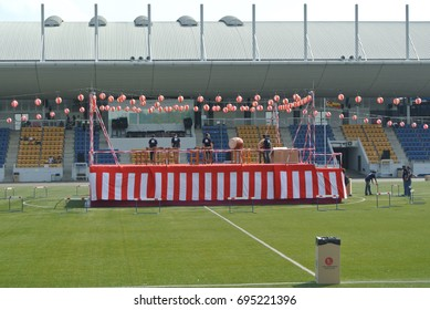 SHAH ALAM, MALAYSIA - JULY 22, 2017: Japanese drum on stage during the celebration of Bon Odori IN Malaysia