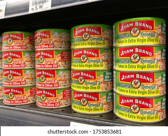SHAH ALAM, MALAYSIA - JUNE 4, 2020. AYAM BRAND Tuna Fish on shelf in supermarket for sales. Ayam Brand founded in Singapore in 1862 today among the popular household brand in Asia.