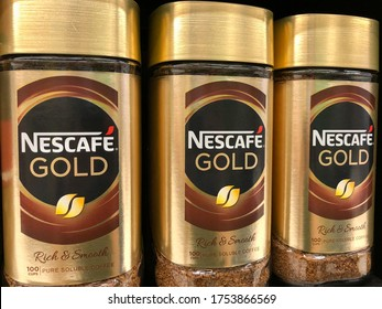SHAH ALAM, MALAYSIA - JUNE 4, 2020 : Nescafe Gold on displayed for sales in the supermarket shelf. Nescafe instant coffee. Nescafe is a brand of instant coffee made by Nestle.