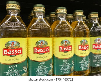 SHAH ALAM, MALAYSIA - JUNE 4, 2020: 'Basso' brand Olive Oil display in the supermarket shelf. Basso company is established company since 1904 focusing on olive oil products