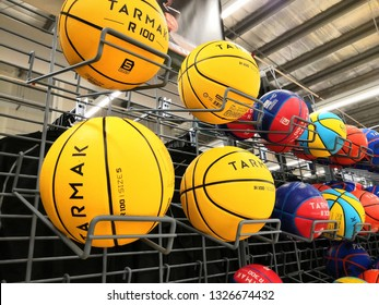 Shah Alam, Malaysia - March 2019 : Basketball balls for sale at a sporting goods Decathlon store in Shah Alam. Decathlon is one of the world's largest sporting goods retailers. - Image