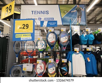 Shah Alam, Malaysia - March 2019 : Tennis accessories for sale at a sporting goods Decathlon store in Shah Alam. Decathlon is one of the world's largest sporting goods retailers. - Image