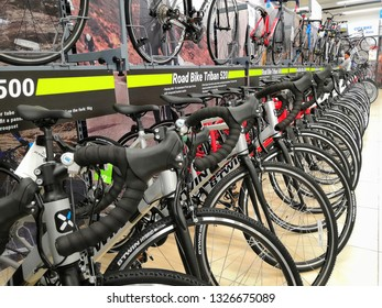 Shah Alam, Malaysia - March 2019 : Road bikes for sale at a sporting goods Decathlon store in Shah Alam. Decathlon is one of the world's largest sporting goods retailers. - Image