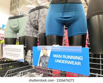 Shah Alam, Malaysia - March 2019 : Man running underwear for sale at a sporting goods Decathlon store in Shah Alam. Decathlon is one of the world's largest sporting goods retailers. - Image