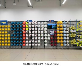 Shah Alam, Malaysia - March 2019 : Football balls for sale at a sporting goods Decathlon store in Shah Alam. Decathlon is one of the world's largest sporting goods retailers. - Image