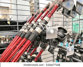 Shah Alam, Malaysia - March 2019 : Fishing rods for sale at a sporting goods Decathlon store in Shah Alam. Decathlon is one of the world's largest sporting goods retailers. - Image
