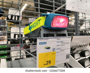 Shah Alam, Malaysia - March 2019 : Headlamp for sale at a sporting goods Decathlon store in Shah Alam. Decathlon is one of the world's largest sporting goods retailers. - Image