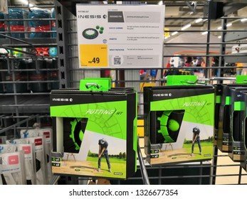 Shah Alam, Malaysia - March 2019 : Golf accessories for sale at a sporting goods Decathlon store in Shah Alam. Decathlon is one of the world's largest sporting goods retailers. - Image