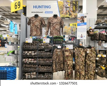 Shah Alam, Malaysia - March 2019 : Hunting clothing for sale at a sporting goods Decathlon store in Shah Alam. Decathlon is one of the world's largest sporting goods retailers. - Image