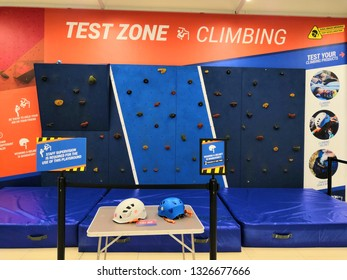 Shah Alam, Malaysia - March 2019 : Test zone for climbing at a sporting goods Decathlon store in Shah Alam. Decathlon is one of the world's largest sporting goods retailers. - Image