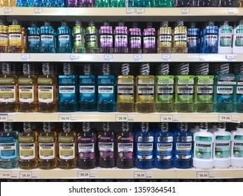 SHAH ALAM, MALAYSIA - March 22, 2019 : Assorted of brand LISTERINE bottle on the supermarket shelf.