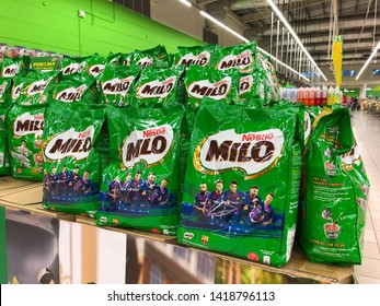 SHAH ALAM, MALAYSIA - MARCH 24, 2019: Product of Milo on the shelf in hypermarket ready for sale. Milo is an energy drink produce by Nestle Malaysia
