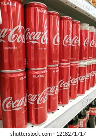 Shah Alam, Malaysia - October, 2018: The famous carbonated drinks, Coca-Cola Classic arranged on the supermarket shelf.