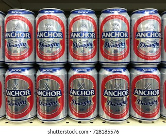 SHAH ALAM, MALAYSIA - OCTOBER 3, 2017: Anchor Beer on store shelf in hypermarket.