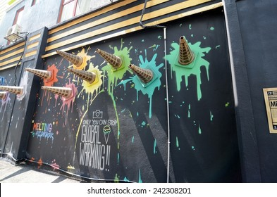 SHAH ALAM, MALAYSIA-JANUARY 7: Street Mural tittle 'Melting' painted by Chern in Shah Alam on January 7, 2015. It was painted in conjunction with the 2014 Street Art Selangor Festival