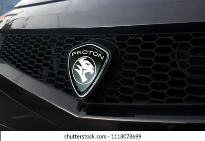 Shah Alam, Selagor, Malaysia - June 16, 2018 :  Proton company logo on the front of a car. Proton is a Malaysian automobile manufacturer.