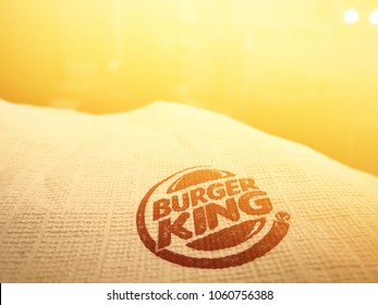 SHAH ALAM, SELANGOR - 31th MARCH 2018: Burge King's burgeoning tissue is covered with bright yellow light