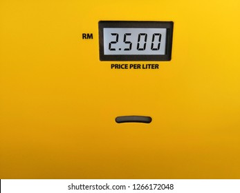Shah Alam, Selangor, Malaysia - December 2018 :Closeup meter price per liter in Malaysian currency  for Petronas Primax 95 at Petronas petrol station. Petronas is a Malaysian oil and gas company.