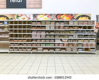 Shah Alam, Selangor, Malaysia- May 09, 2018; Assorted brand of Eggs pack on shelves in a supermarket.Egg and dairy are the main sources of protein and calcium.