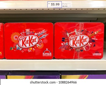 Shah Alam, Selangor, Malaysia- May 09, 2018; Product of Nestle, Kit Kat wafer fingers in milk chocolate on display for sale in supermarket.