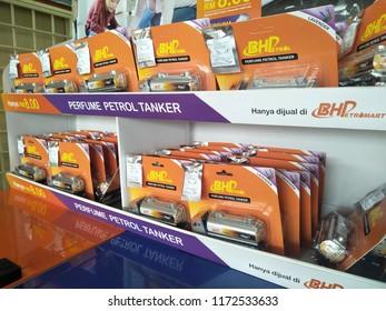 Shah Alam, Selangor, Malaysia - September 2018: Perfume Petrol Tanker display for sale in BHP petrol station located in Selangor,Malaysia.