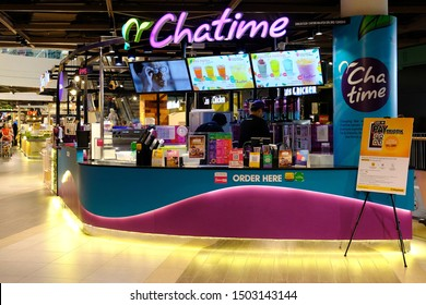 Shah Alam Selangor, Malaysia - September 7, 2019 : Exterior view of a Chatime drink outlet at Central I-City Mall
