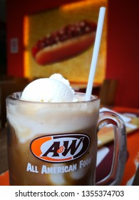 SHAH ALAM, SELANGOR - MARCH 2019 : A&W Restaurants, Inc. is a chain of fast-food restaurants distinguished by its draft root beer, root beer floats and burgers.