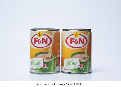 Shah Alam, Selangor - March 3 2021: Close up image of F and N Sweetener Milk with white background.