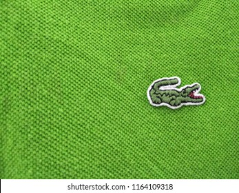 Shah Alam, Selangor,Malaysia - August 2018 : Closeup Lacoste logo t shirt for sale .Lacoste is a French clothing company, founded in 1933 by tennis player René Lacoste and André Gillier.