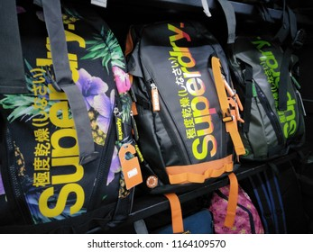 Shah Alam, Selangor,Malaysia - August 2018 : Superdry bags display for sale in shop. Superdry plc is a UK branded clothing company, and owner of the Superdry label.