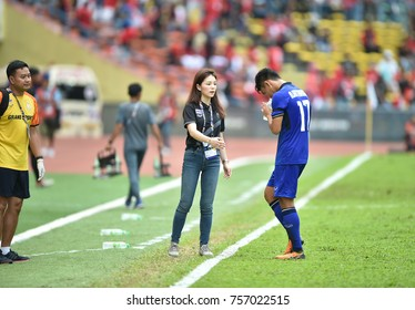 Shah alam,Malaysia,15aug2017:Watanya Wongopasi manager of thailand in action during SEAGames 28th against Indonesia at Shah alam stadium,Malaysia