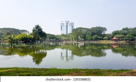 SHAH ALAM,MALAYSIA-MARCH 9,2019: Beautiful and nice lakeview and building near Shah Alam Shot taken on March 9,2019.