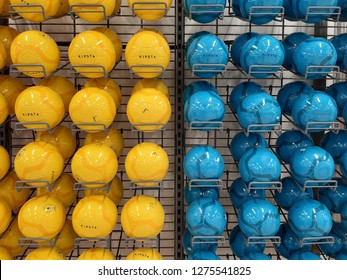 shah alam,selangor,malaysia - 5 December 2018 : new soccer ball brand of KIPSTA for sale in a sport store outlet located in Decathlon, shah alam,selangor, malaysia