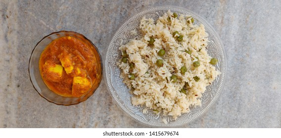Shahi paneer with veg pulao or rice with top view. Kadai paneer with vegetable pulao with selective focus.