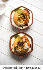 Shahi Raj Kachori is a popular chat item from Rajasthan served in terracotta bowl, India