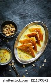 Shahi Tukda tukra  or double ka meetha  - Diwali sweetmade of bread dipped in sugar syrup and Rabri