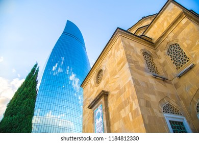 The Shahid Mosque-mosque, located in the capital of Azerbaijan, in the city of Baku, mosque was built by Turkey. Baku, Azerbaijan. Hotel Flame Towers located near Mountain Park.18July  2018