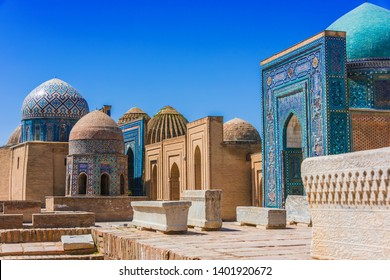 Shah-i-Zinda or Shohizinda (The Living King), a necropolis in Samarkand, Uzbekistan.