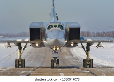 Shaikovka, Kaluga Region, Russia - December 19, 2012: Routine busy day at the airbase. Flying of Tu-22M3 (a supersonic, variable-sweep wing, long-range strategic and maritime strike bomber)