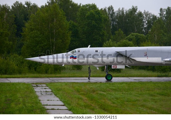 Shaikovka, Kaluga Region, Russia - July 26,2012: Routine busy day at the airbase. Flying of Tu-22M3 (a supersonic, variable-sweep wing, long-range strategic and maritime strike bomber)